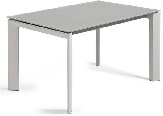 Eettafel atta verlengbaar tot cm grijs gehard glas metaal